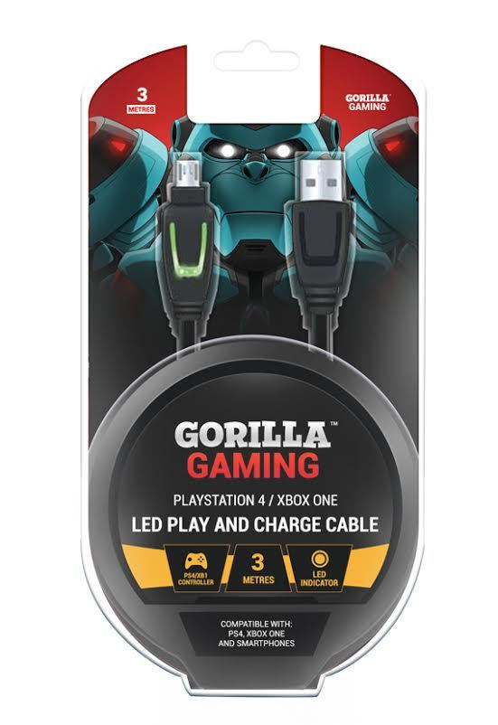Gorilla Gaming LED Play and Charge Cable (PS4 & Xbox One) for PS4 image