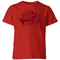 Nintendo Super Mario Odyssey Logo Kids' T-Shirt - Red - 3-4 Years image