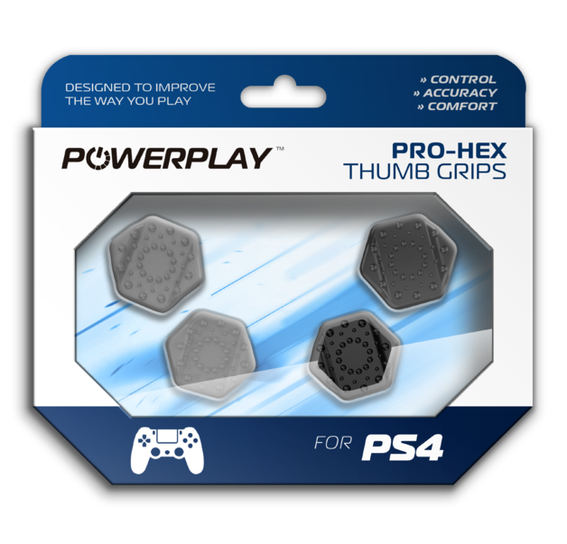 PowerPlay PS4 Pro-Hex Thumb Grips (Grey) for PS4
