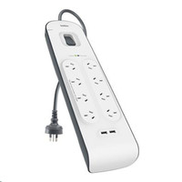 Belkin - 8 Outlet Surge Protector with 2 x 2.4A Shared USB Charging - 2 Metres