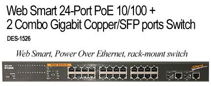 D-Link Web Smart 24-Port PoE 10/100 +2 Combo Gigabit Copper/SFP Ports Switch image