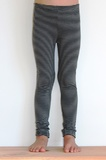 Mini Merino Leggings - Black & Grey Stripe (9 to 10 Years)