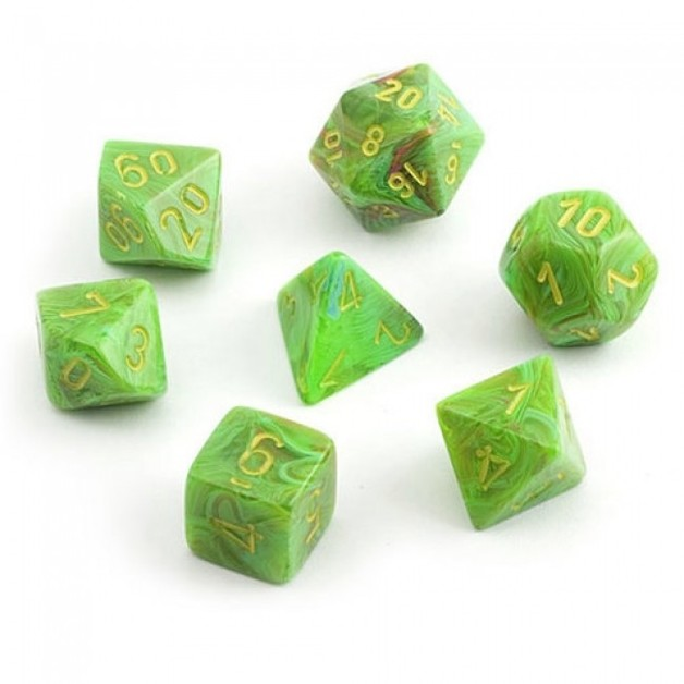 Chessex: Polyhedral 7-Die Set - Vortex Silme with Yellow
