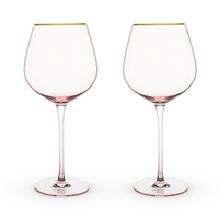 Twine: Garden Party - Rose Crystal Red Wine Glass Set