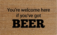 Natural Fibre Doormat - You're welcome here if you've got BEER image