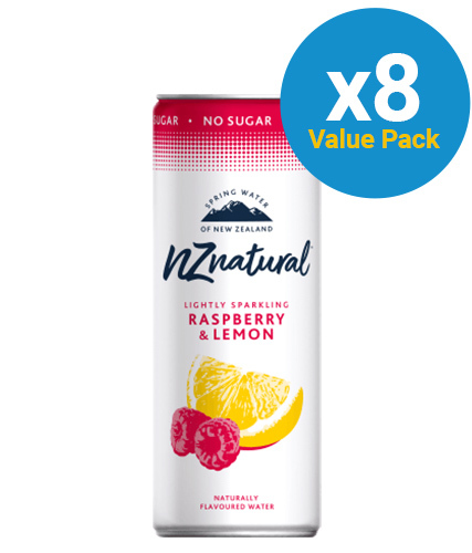 NZ Natural Raspberry & Lemon Sparkling Water 250ml (8 Pack)