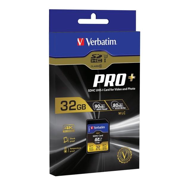 Verbatim Pro+ SDHC UHS-I U3 Memory Card - 32GB