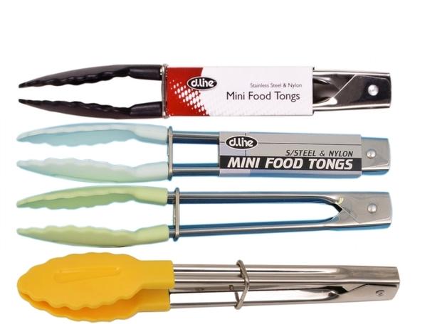 Stainless Steel Mini Tongs with Nylon Head - Lemon