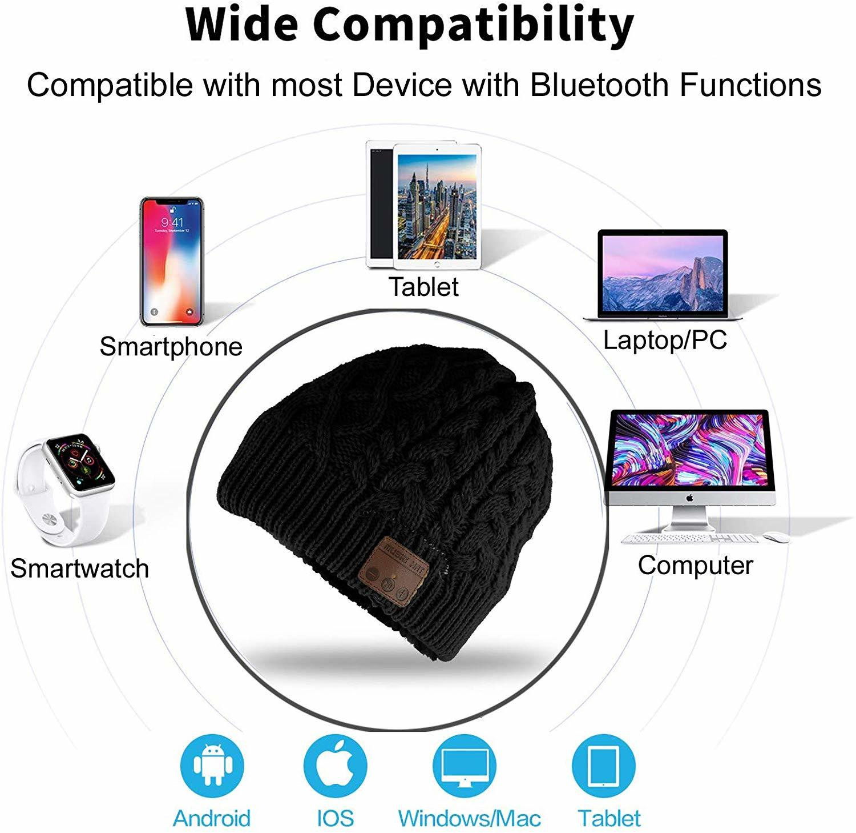 Ape Basics: Wireless Bluetooth Music Beanie Hat- Beige image