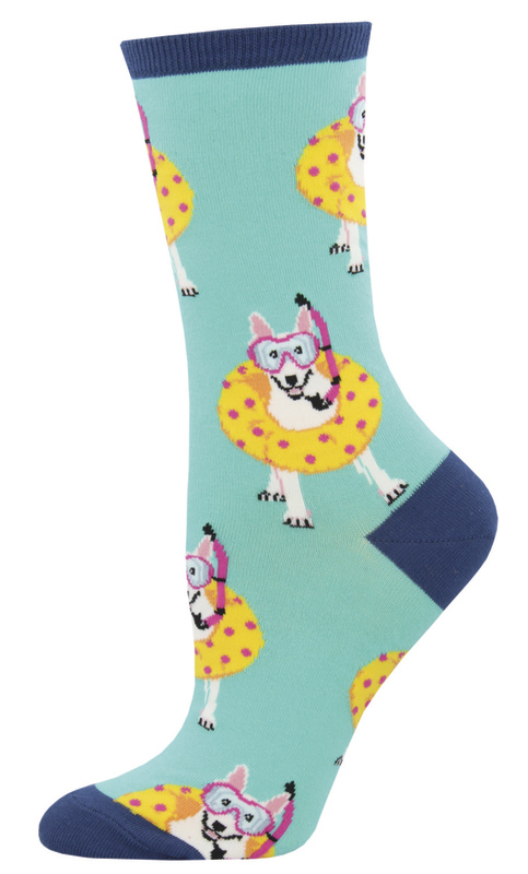 Socksmith: Women's Doggy Paddle Crew Socks - Mint
