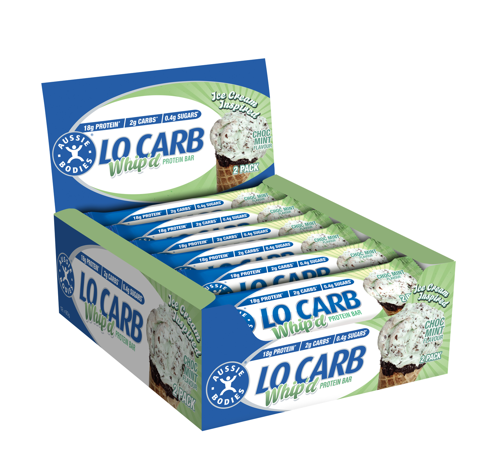 Aussie Bodies Lo Carb Protein Bars - Choc Mint (Box of 12) image