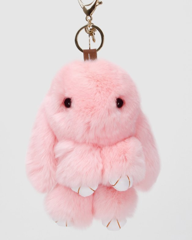 Belle and Bloom: Faux Fur Bunny Keychain - Pink