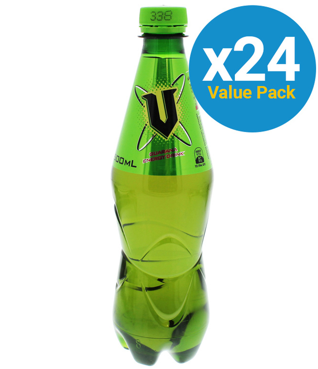 V Green Plastic Bottle 500ml (24 Pack)