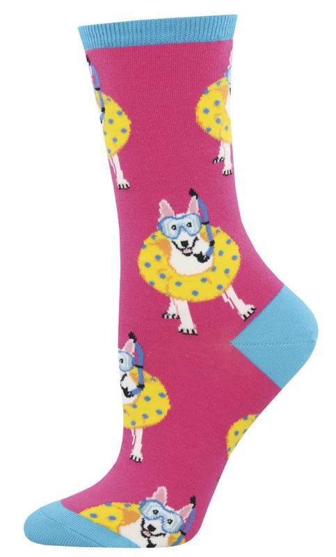 Socksmith: Women's Doggy Paddle Crew Socks - Pink