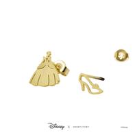 Short Story: Disney Earring Cinderella Dress and Shoe - Gold image
