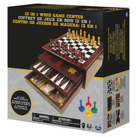 Classic Wood 12 in 1 Game Centre Black & Gold
