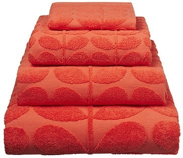 Orla Kiely Sculpted Stem Bath Sheet - Tomato