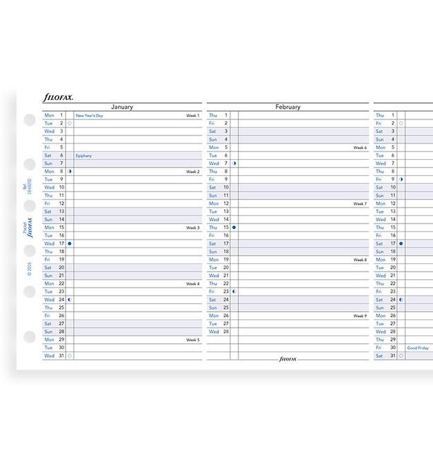 Filofax: Pocket 2020 Refill - Year Planner (Vertical)
