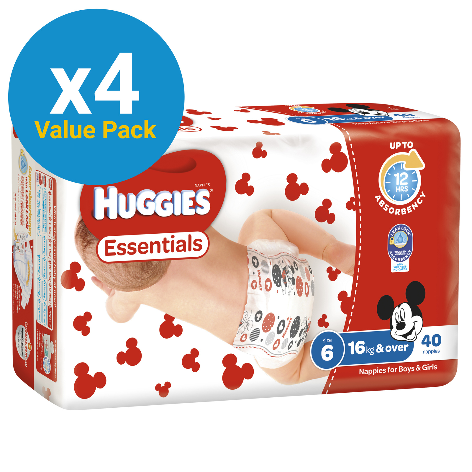 Huggies Essentials Nappies Bulk Value Box - Size 6 Junior (160) image