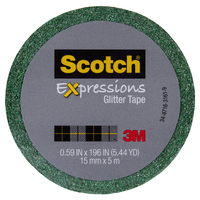 Scotch Expressions Glitter Washi Tape - Dark Green (15mm x 5m)