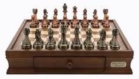 """Dal Rossi: Staunton Green/Copper - 16"""" Chess Set (Antique Finish)"""