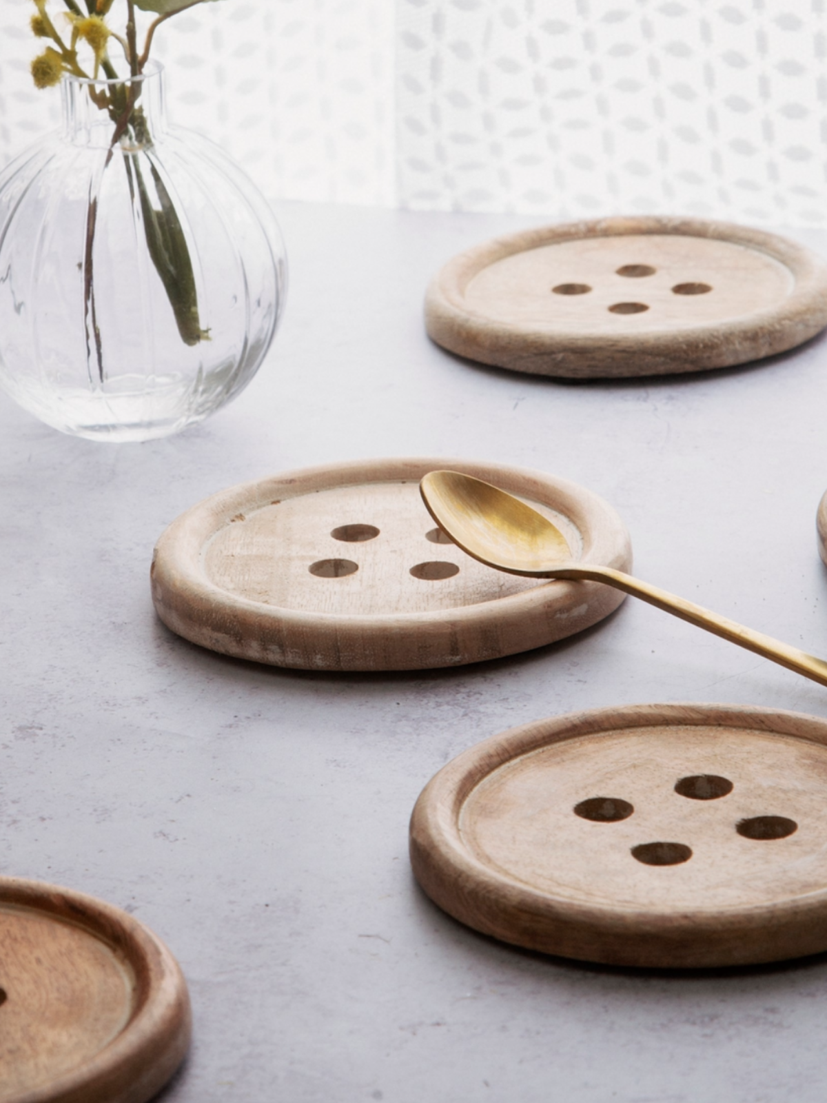 Wooden Button Coaster Set (6 pc) image