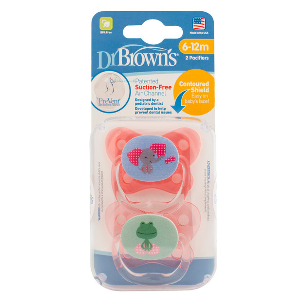 Dr Brown's PreVent Contoured Pacifier: Stage 2 Pink - 6-12mnths (2 Pack)