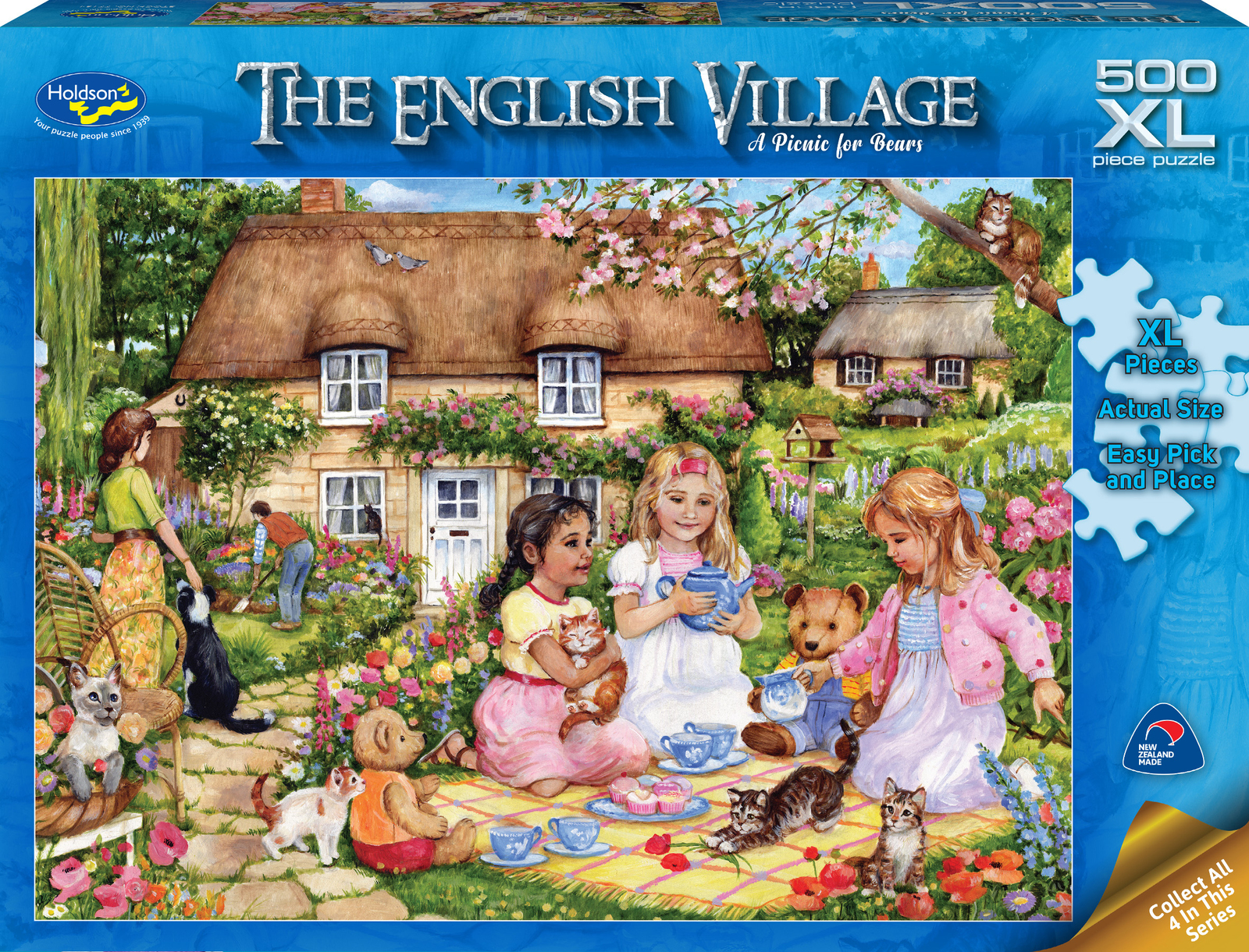 Holdson XL: 500 Piece Puzzle - The English Village S2 (A Picnic for Bears) image
