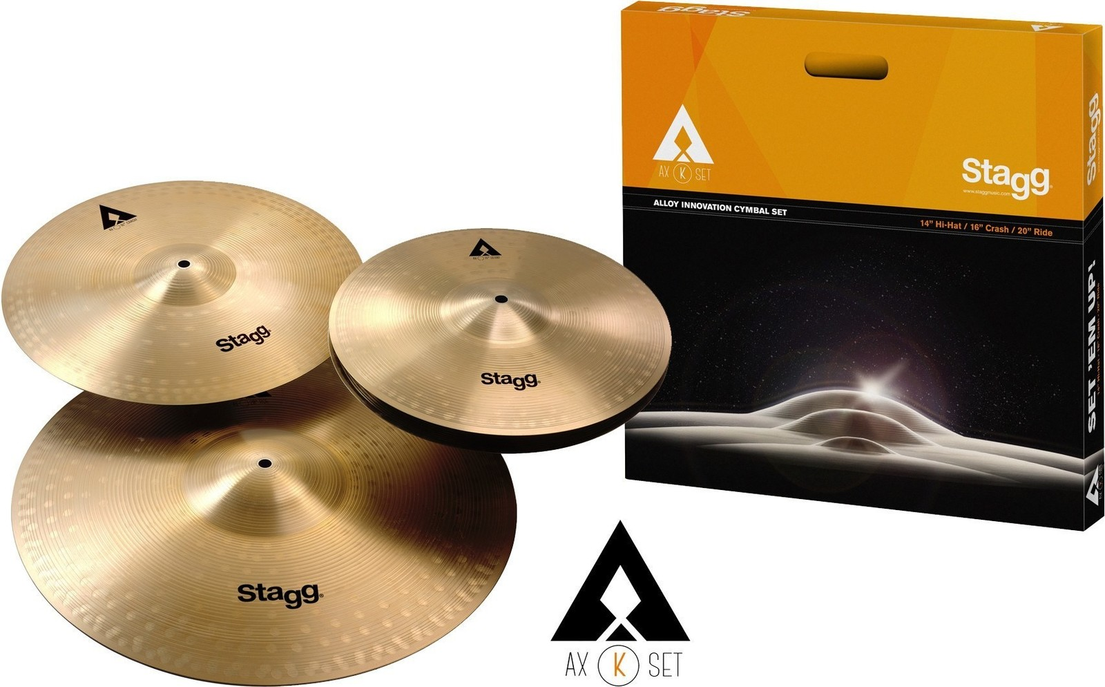 """Stagg AXK Copper Steel Cymbal Set HH14"""" CR 16"""" RD 20"""" image"""