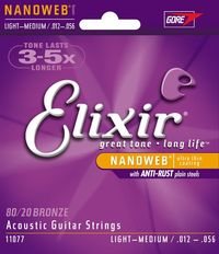 Elixir Light Medium 12-56 Bronze 80/20 NanoWeb Coating - Acoustic Guitar Strings
