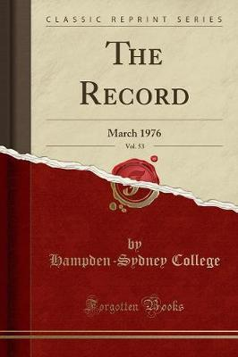 The Record, Vol. 53 by Hampden-Sydney College