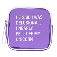 Vinyl Cosmetic Bag: Unicorn (Purple)
