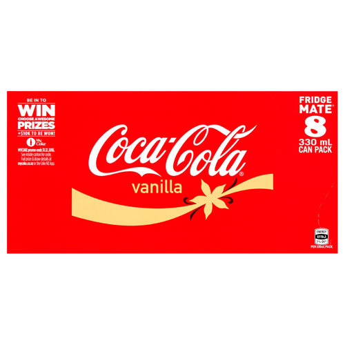 Vanilla Coke Soft Drink Cans - 8 Pack (330ml)