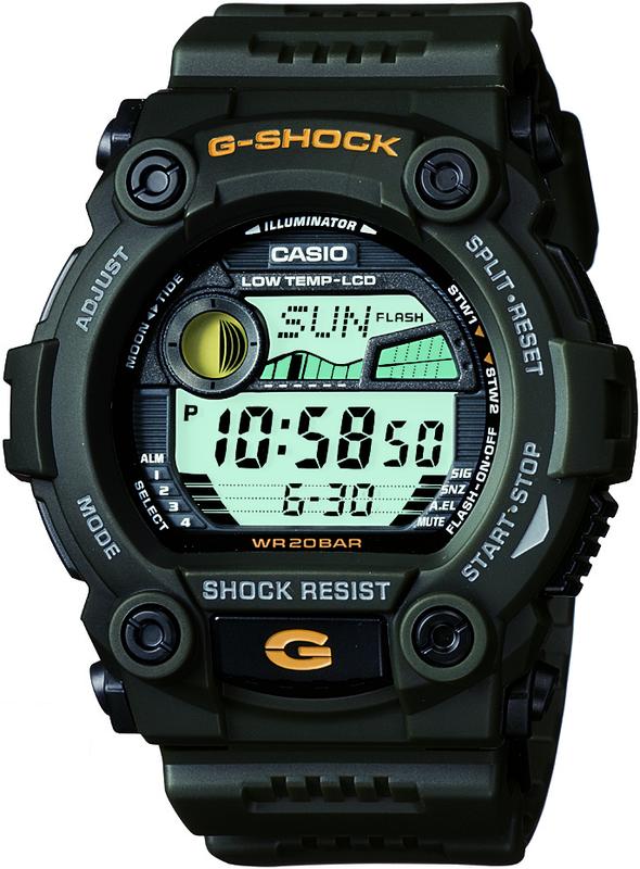 Casio G-Shock Digital Mens Green Tide Graph Watch G-7900-3DR