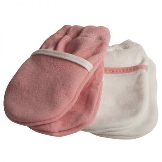 Safety 1st: No Scratch Mittens (2pk) - Pink/White