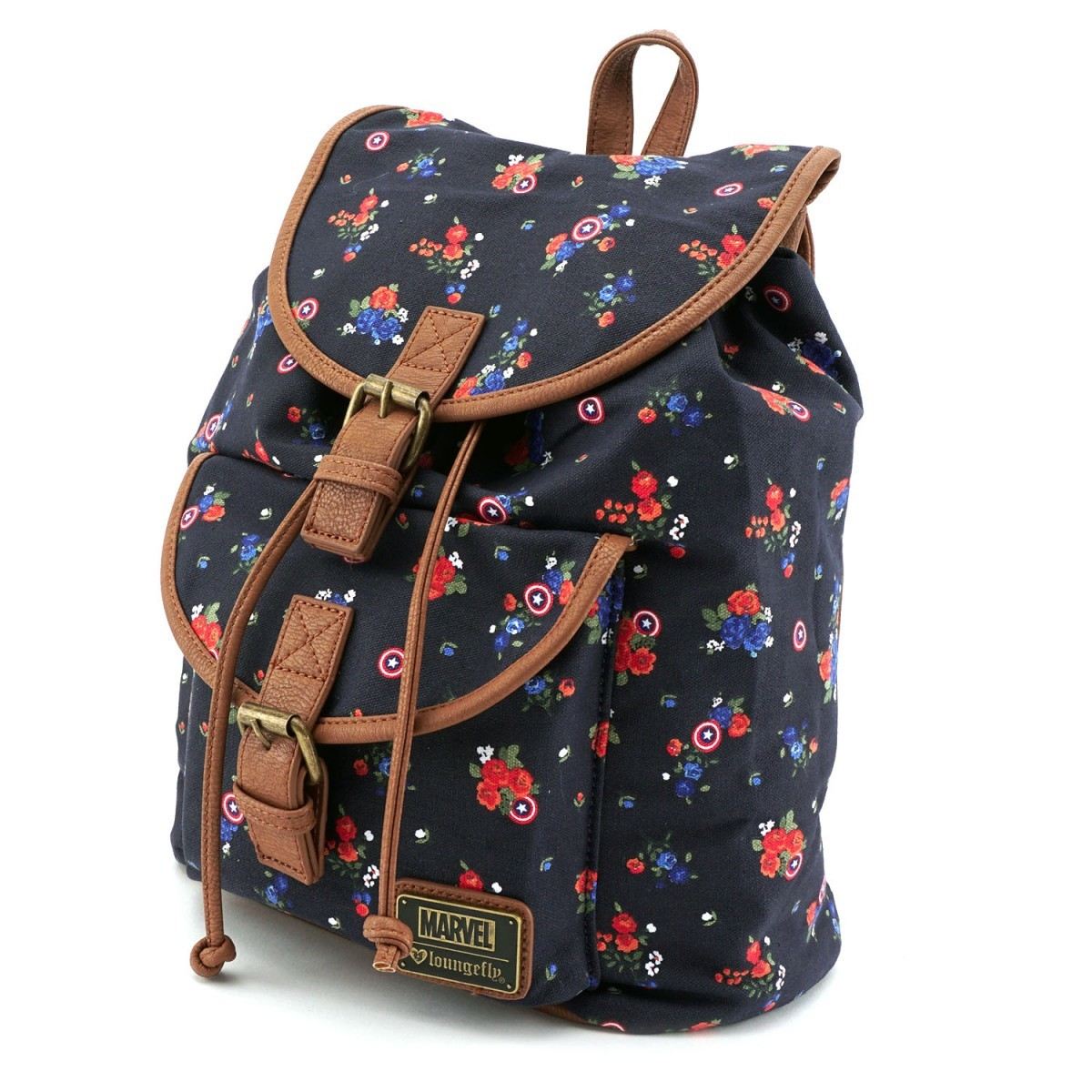 Loungefly Marvel Captain America Floral Print Backpack image