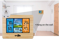 Wireless Sensor LCD Display Weather Station Clock - Wood