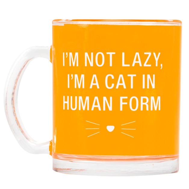 Say What: Glass Mug - Cat In Human Form (Orange)