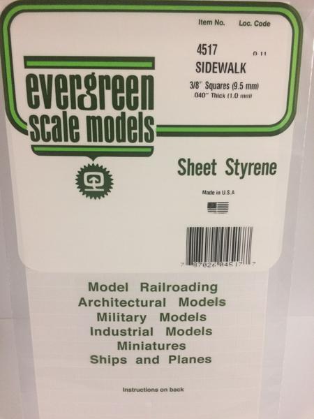 Evergreen Styrene Sidewalk 15X29cm X1 mm 9.5Sq