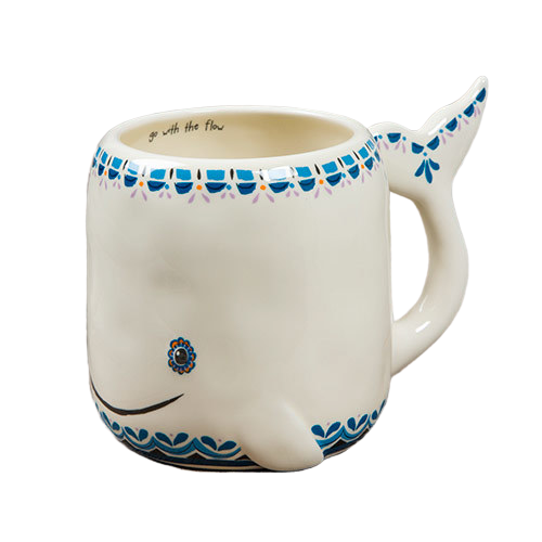 Natural Life: Ceramic Folk Mug - Go Flow Whale