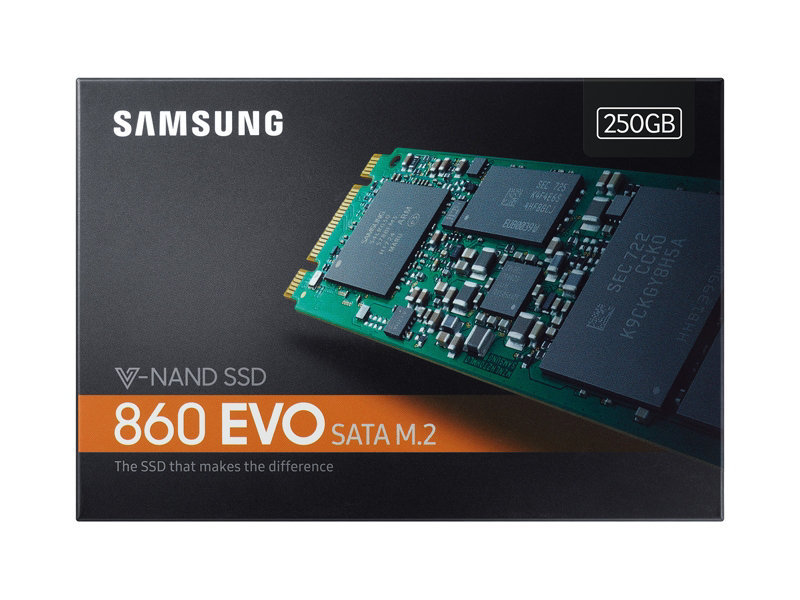 250GB Samsung 860 EVO V-NAND M.2 (2280) SSD SATA III 6GB/s, R/W(Max) 550MB/s/520MB/s image