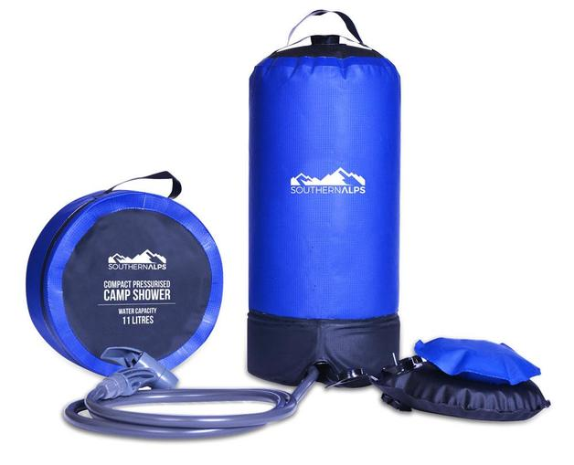 SouthernAlps Compact Pressurised Camp Shower with Foot Pump