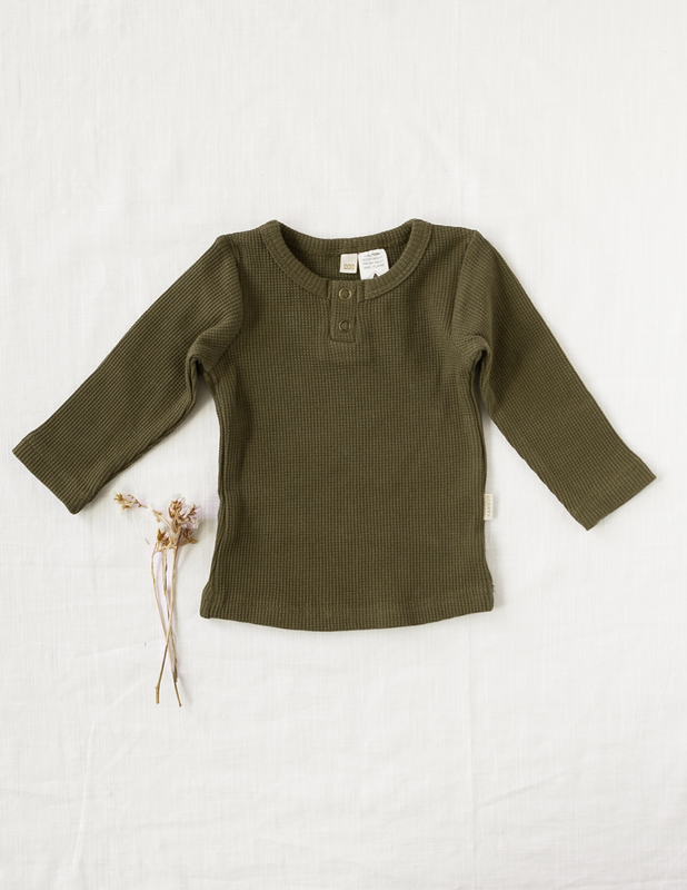 Karibou Kids: Willow Long Sleeve Waffle Cotton Unisex Top - Olive 5YRS