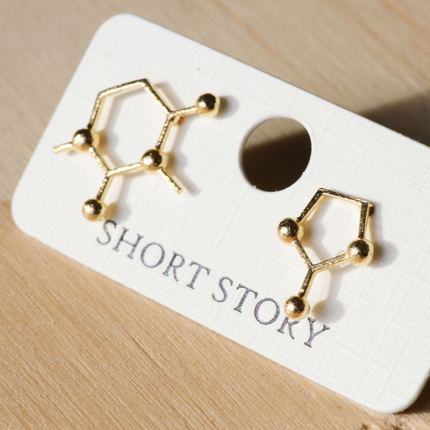 Short Story: Funky Play Earrings - Gold Molecule