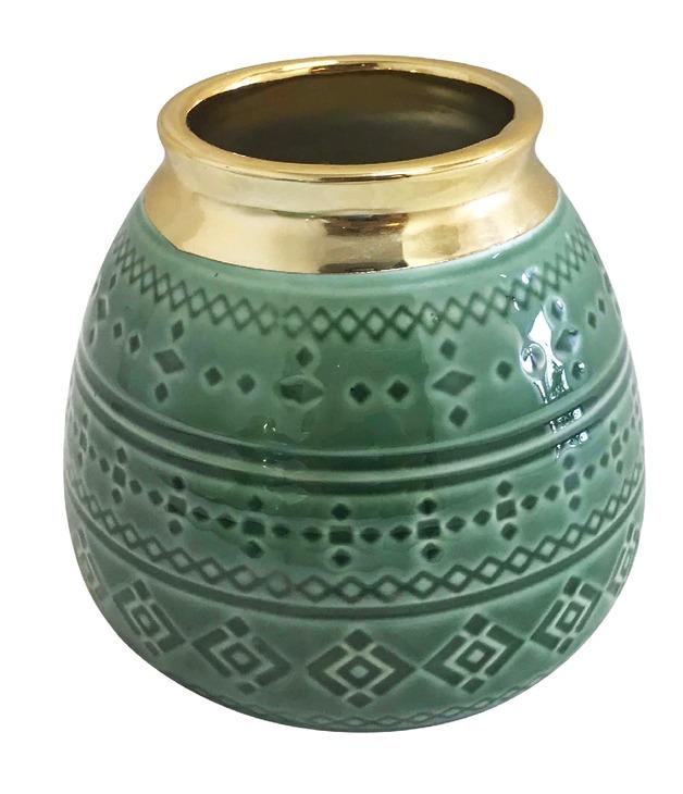 Sage Tribal Squat Vase (12cm)