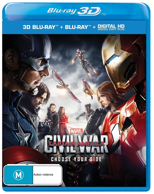 Captain America: Civil War on Blu-ray, 3D Blu-ray, DC+