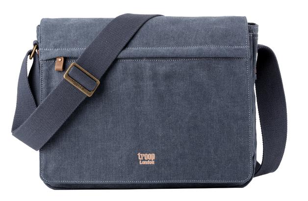 Troop London: Classic Flap Front Messenger Bag - Blue