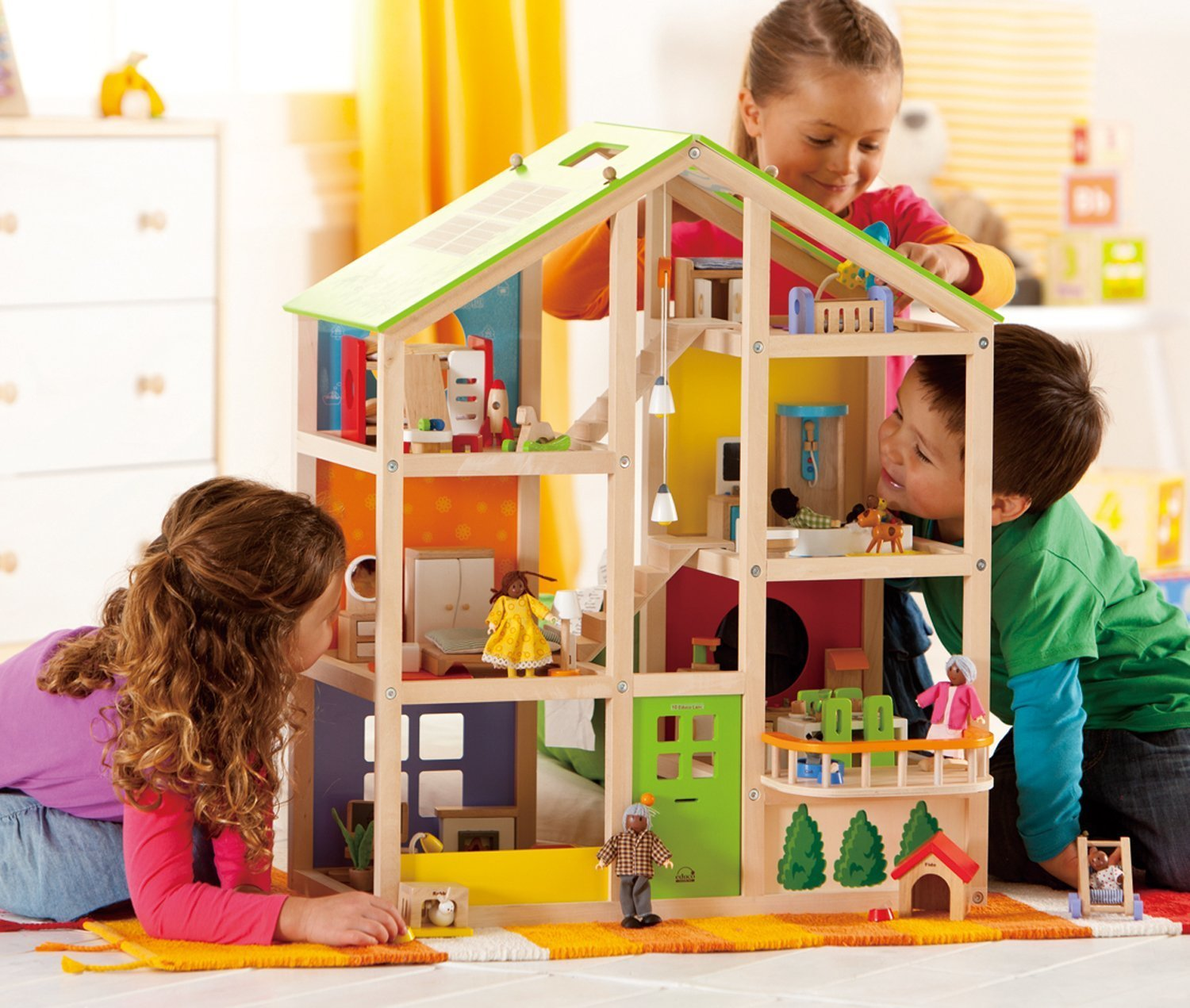 Hape All Season Wooden Dolls House Furnished