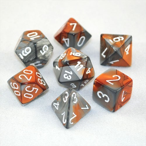 Chessex Gemini Polyhedral Dice Set - Copper Steel/White