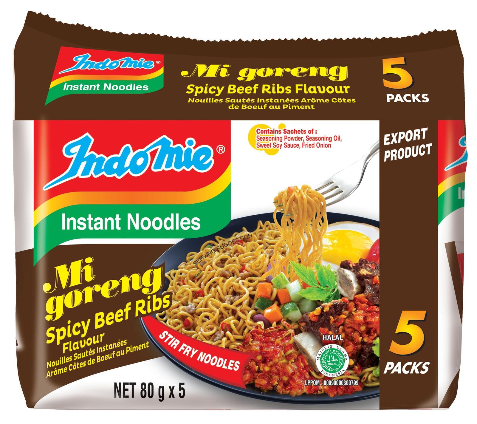 Indomie Spicy Beef Ribs Noodles 80g 5pk image